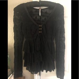 M Free People Black Lacey Ruffle Top